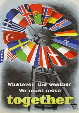 Marshall Plan, Poster von 1950. Bild: E. Spreckmeester<br>im Auftrag der Economic Cooperation Administration [http://commons.wikimedia.org/wiki/File:Marshall_Plan_poster.JPG?uselang=de Wikimedia Commons] ([https://creativecommons.org/publicdomain/mark/1.0/deed.de Public Domain])