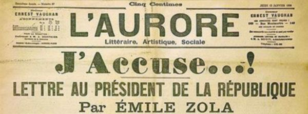 "Titelseite ""L'Aurore"", 13. Januar 1898, Quelle: [https://commons.wikimedia.org/wiki/File:J_accuse.jpg?uselang=de Wikimedia Commons] ([https://creativecommons.org/publicdomain/mark/1.0/deed.de Public Domain])"