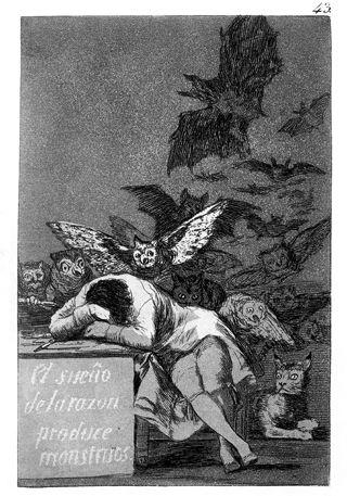 Francisco de Goya, El sueño de la razón produce monstruos (Der Schlaf [Traum] der Vernunft gebiert Ungeheuer), Capricho Nr. 43, ca. 1797-98, Radierung, Madrid. Quelle: [https://commons.wikimedia.org/wiki/File:Goya-Capricho-43.jpg Wikimedia Commons] ([https://de.wikipedia.org/wiki/Gemeinfreiheit gemeinfrei])