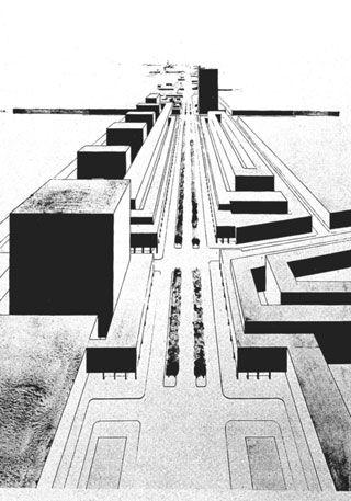 """Cornelis van Esterens Beitrag zum """"Linden-Wettbewerb"""" in Berlin, 1925  (aus: Franziska Bollerey [Hg.], Urbanismus zwischen de Stijl und C.I.A.M., Braunschweig, Wiesbaden 1999, S. 68)"""