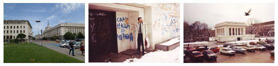 """Geschichtspolitik in der bulgarischen Hauptstadt Sofija von 1950 bis 1999, Fotos: S. Troebst, 1995 - 2013 ©, mit freundlicher Genehmigung.<br /> (rechts) Das von dem Architekten Georgi Ovčarov erbaute neoklassizistische Mausoleumsgebäude für den als """"Helden von Leipzig"""" und langjährigen Generalsekretär der Kommunistischen Internationale bekannten bulgarischen Kommunisten und ersten Ministerpräsidenten der Volksrepublik Bulgarien Georgi Dimitrov (1882-1949) wurde 1950 eröffnet. (Mitte) Nach 1989 wurde das Gebäude geschlossen und mit Graffiti und antikommunistischen Parolen besprüht. Das blaue Grafitti """"Vsicki zabi sa zeleni, samo nasa e cervena"""" (Alle Kröten sind grün, nur unsere ist rot) hat seinerzeit landesweite Berühmtheit erlangt. Die Mumie Dimitrovs wurde 1990 eingeäschert und seine Urne auf dem Sofijoter Zentralfriedhof beigesetzt. (links) Am 21. August 1999, dem 31. Jahrestag der Beteiligung der Bulgarischen Volksarmee am Einmarsch der Warschauer Pakt-Truppen in die Tschechoslowakei 1968, wurde das Gebäude auf Weisung der liberal-konservativen Regierung unter Ivan Kostov gesprengt. Das Grundstück ist heute eine Rasenfläche – Hinweise auf das Mausoleum finden sich nicht, aber umgangssprachlich wird vom Platz """"beim Mausoleum"""" gesprochen."""