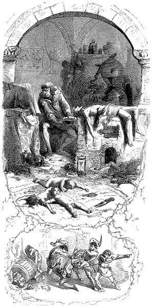 Jean Antoine Valentin Foulquier 1862, Gilles de Laval Lord of Rais performs sorcery on his victims, First Gallery, Quelle: [http://commons.wikimedia.org/wiki/File:Gilles_de_Rais_murdering_children.jpg?uselang=de Wikimedia Commons] ([http://en.wikipedia.org/wiki/Public_domain?uselang=de gemeinfrei]).