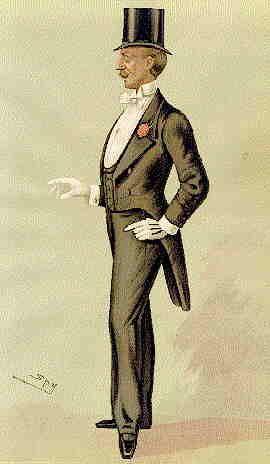 Dunkler Herrenanzug, 1885. Karikatur von Mr John Delacour (1841-??), Mitglied des Marlborough Club und Pferderennen-Liebhaber. Quelle: [http://commons.wikimedia.org/wiki/File:Spy_Delacouur.jpg?uselang=de Wikimedia Commons] ([http://de.wikipedia.org/wiki/Gemeinfreiheit gemeinfrei]).