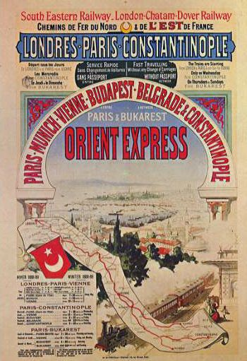 """Imaginäre Geografien: Der """"Orient"""", den die legendäre Zugverbindung durchquerte, war eigentlich der Balkan; der Endbahnhof lag nämlich auf der europäischen Seite Istanbuls. Quelle: [http://commons.wikimedia.org/wiki/File:Aff_ciwl_orient_express4_jw.jpg Wikimedia Commons] ([http://en.wikipedia.org/wiki/Public_domain Public Domain])."""