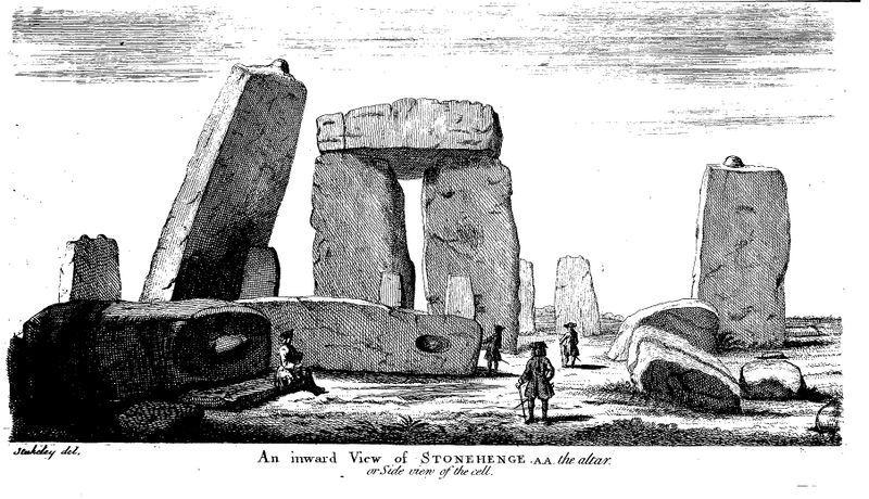 Stonehenge. Zeitgenössischer Stich von Stonehenge in der ersten Hälfte des 18. Jahrhunderts. Blick auf die innere (einstmals hufeisenförmige) Struktur aus Trilithen, also zwei Tragsteinen und einem aufliegenden Deckstein. Quelle: William Stukely, Stonehenge a Temple Restor'd to the British Druids, London 1740.