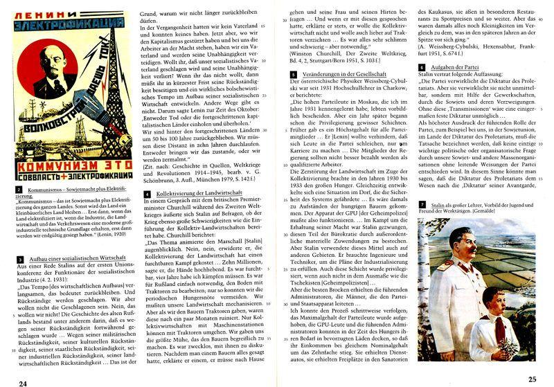 Sozialismus-Darstellung in einem bundesdeutschen Schulbuch von 1988. Hans-W. Ballhausen u.a., Geschichte und Geschehen 10, © Ernst Klett Verlag 1988, S. 24f.