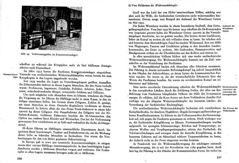 """Darstellung des Holocaust in dem DDR-Geschichtsschulbuch """"Lehrbuch für den Geschichtsunterricht"""" von 1955, ©Volk und Wissen Volkseigener Verlag Berlin 1955, S. 236f."""