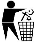Anti-Religions-Logo, 2012. Quelle: [http://commons.wikimedia.org/wiki/File:Religion_is_rubbish.svg?uselang=de Wikimedia Commons] ([https://creativecommons.org/licenses/by-sa/3.0/deed.de CC BY-SA 3.0])