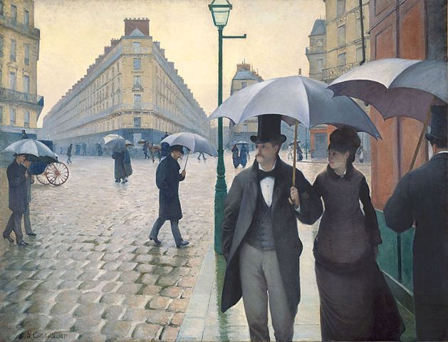 Privat und öffentlich – Bürger im Straßenleben.<br /> Gustave Caillebotte, Rue de Paris, temps de pluie, 1877. Quelle: [http://commons.wikimedia.org/wiki/File:Gustave_Caillebotte_-_Jour_de_pluie_%C3%A0_Paris.jpg Wikimedia Commons] / [http://www.artic.edu/aic/collections/artwork/20684 Charles H. and Mary F. S. Worcester Collection, The Art Institute of Chicago] ([https://commons.wikimedia.org/wiki/Commons:Licensing#Material_in_the_public_domain public domain]).