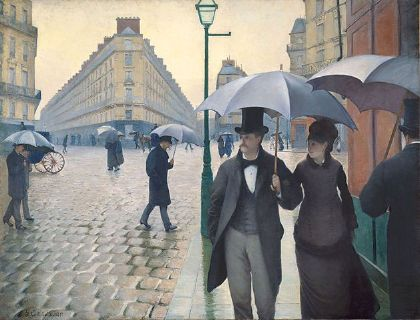 Private and public – ''Bürger'' on the streets.<br /> Gustave Caillebotte, Rue de Paris, temps de pluie, 1877. Source: [http://commons.wikimedia.org/wiki/File:Gustave_Caillebotte_-_Jour_de_pluie_%C3%A0_Paris.jpg Wikimedia Commons] / [http://www.artic.edu/aic/collections/artwork/20684 Charles H. and Mary F. S. Worcester Collection, The Art Institute of Chicago] ([https://commons.wikimedia.org/wiki/Commons:Licensing#Material_in_the_public_domain public domain]).