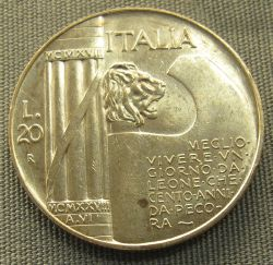 "In December 1926, the fasces became the emblem of the Italian state. It is shown here on a coin together with a text that asserts: ""Better to live a day as a lion than one hundred years as a sheep."