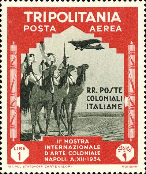 Italian postage stamp from 1934, depicting three men riding through the Libyan Desert, flanked on both sides by the fasces. Source: [https://www.ibolli.it/php/em.php?fr_area=colonie&id=5210 iBolli] (public domain). Source:[https://commons.wikimedia.org/wiki/File:Meharisti.jpg?uselang=de Wikimedia Commons] / [https://www.ibolli.it/php/em.php?fr_area=colonie&id=5210 iBolli] ([https://de.wikipedia.org/wiki/Gemeinfreiheit public domain]).