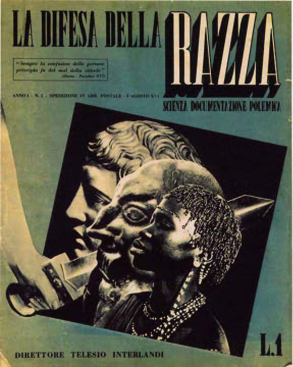 """Der Rassismus und Antisemitismus der italienischen Faschisten war autochton. Die Zeitschrift """"La difesa della razza"""" von 1938 sollte das """"Rassenbewusstsein"""" der Italiener schärfen. Quelle: [https://it.wikipedia.org/wiki/File:Difesa_della_razza.jpg Wikimedia Commons] ([https://de.wikipedia.org/wiki/Gemeinfreiheit gemeinfrei])."""
