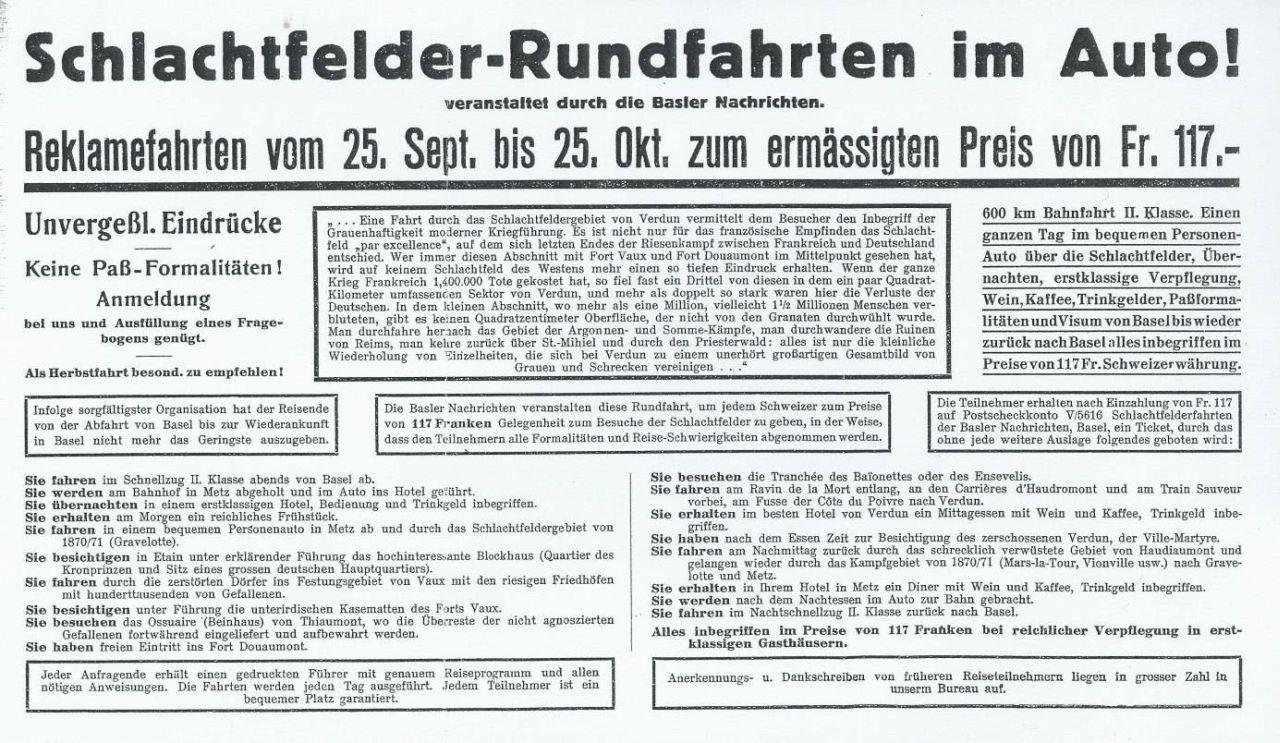 Inserat, abgedruckt bei Karl Kraus, Reklamefahrten zur Hölle