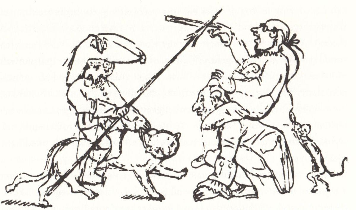 Zeichnung von E.T.A. Hofffmann: Hoffmann, auf dem Kater Murr reitend, kämpft gegen die preußische Bürokratie, 1821 in: Klaus Günzel: Die deutschen Romantiker. Artemis, Zürich 1995. Quelle: [https://commons.wikimedia.org/wiki/File:E._T._A._Hoffmann_-_Hoffmann_k%C3%A4mpft_gegen_die_B%C3%BCrokratie_1821.jpg?uselang=de Wikimedia Commons], gemeinfrei