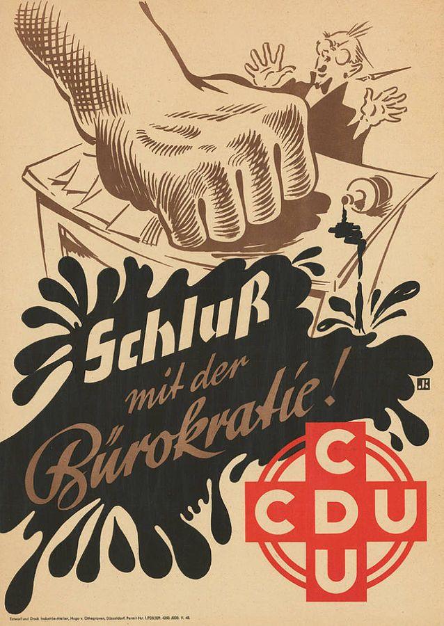 Wahlplakat der CDU für die Kommunalwahl in Nordrhein-Westfalen am 17.10.1948: Schluß mit der Bürokratie! Künstler: Signet