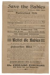 "Bereits im späten 19. Jahrhundert war das Interesse, das Kind zu beschützen, ein explizit öffentliches: ""Save the Babies"", The Chicago Commons 1902: Information für Familien in englischer und deutscher Sprache. Quelle: [http://dcc.newberry.org/system/artifacts/803/original/Save-Babies-Pure-Milk.jpg The Newberry Digital Collections for the Clasroom, Call Number: Midwest MS Taylor box 58 Folder 2473 Creator: Taylor, Graham, 1851-1938] gemeinfrei"