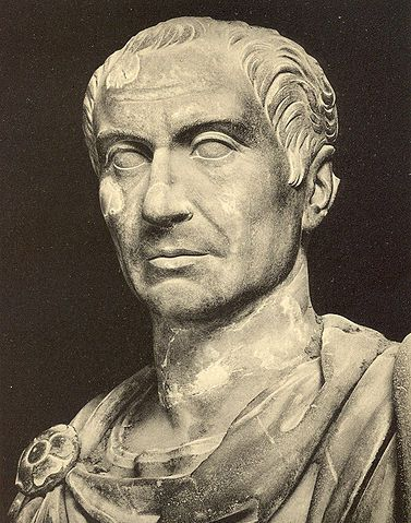 Bust of Julius Caesar. Photo from: Alfred von Domaszewski, Geschichte der Romischen Kaiser, Leipzig 1914, unknown photographer. Source: [https://commons.wikimedia.org/wiki/File:Caesar.jpg#/media/File:Caesar.jpg Wikimedia Commons], Public Domain