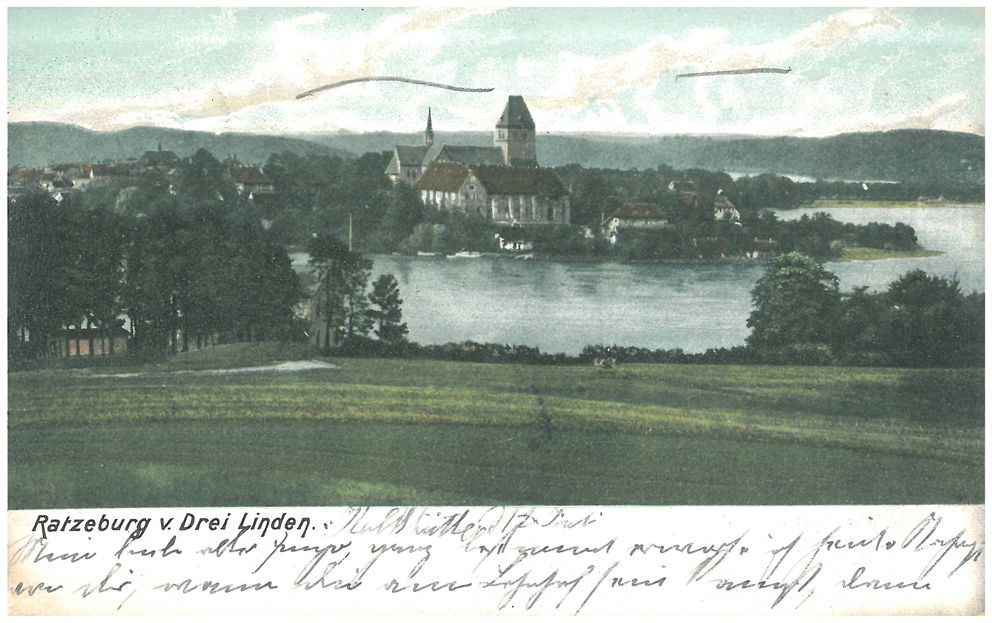"The postcard shows a typical motif: the view of a town with a church in the middle embedded in a landscape depicting woods, fields, hills and water. The picture is colorized, underscoring contemporary notions of the aesthetic and natural character of the scene. Such scenes are not just typical of German postcards but were common around the world at the turn of the twentieth century. The postcard was an everyday form of communication, not made and sold for tourists alone but popular among locals as well. <br /> Photographic postcard, colorized: ""Ratzeburg v. Drei Linden"" ca. 1905 /1906, Verlag Ottmar Zieher, Munich 8.8 x 14 cm, postmarked July 18, 1906. Source: Private collection of J. Jäger, with kind permission"