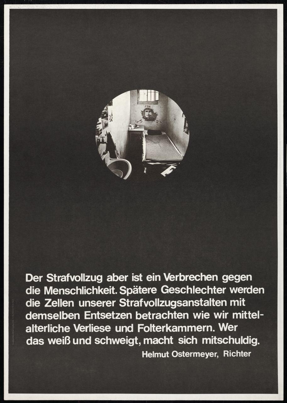 Wandzeitung um 1972, herausgegeben von der Stuttgarter Gruppe »plakat«. Diese verstand sich als »Projektgruppe Presse und Information in der Stuttgarter APO«. In der beidseitig bedruckten Wandzeitung wurden mit dem Zitat eines Richters und dem Blick in eine verschmutzte Gefängniszelle die Haftbedingungen in bundesdeutschen Gefängnissen angeprangert. (Repro: Stiftung Haus der Geschichte der Bundesrepublik Deutschland, Bonn)