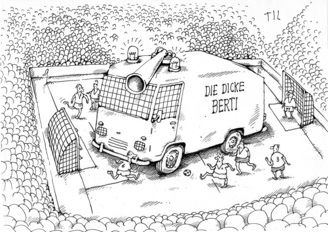 Der Beginn der 1990er-Jahre war durch massive Polizeipräsenz in den Stadien geprägt. Diese Karikatur erschien im März 1991 in der »taz«. (© Til Mette, http://www.tilmette.com)
