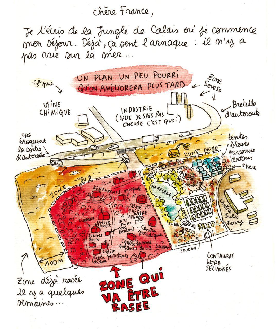 Mit dieser Beschreibung in Wort und Bild beginnt die Chronik der Zeichnerin Lisa Mandel und der Soziologin Yasmine Bouagga – eine Art ethnographisches Tagebuch in Form einer bande dessinée –, in welcher sie mit einer gehörigen Portion Humor über ihren mehrmonatigen Aufenthalt im »Dschungel von Calais« berichten. Die Zeichnung stellt ihren ersten Entwurf der Topographie des Lagers dar.(aus: Lisa Mandel/Yasmine Bouagga, Les Nouvelles de la Jungle de Calais, Brüssel 2017, S. 40; © Editions Casterman S.A./Lisa Mandel und Yasmine Bouagga; mit freundlicher Genehmigung des Verlags – alle Rechte vorbehalten)