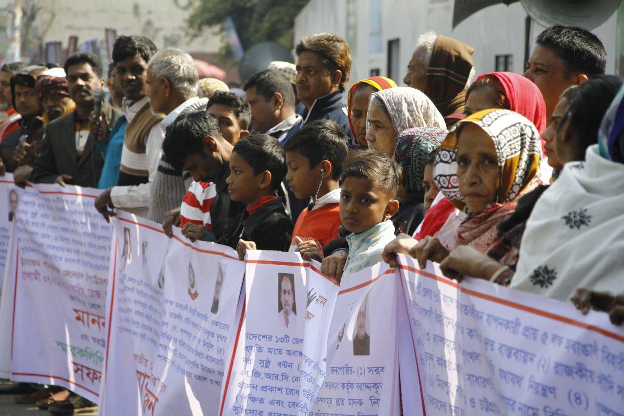 Demonstration von Urdusprachigen für bessere Lebensbedingungen in Dhaka, 7. Januar 2018(picture alliance/NurPhoto/Rehman Asad)