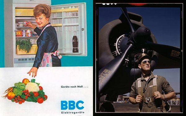 """Ob """"Fliegerass"""" oder """"Hausfrau"""", immer war Handeln in der Moderne auch technisches Handeln, das in das Verhältnis der Geschlechter eingebunden war und diese mitbestimmte: Werbeanzeige eines Kühlschrankherstellers sowie Fotografie eines US-amerikanischen Testpiloten im Jahr 1942. BBC-Elektrogeräte, Quelle: [http://www.inventingeurope.eu/daily-lives/making-room-for-the-european-fridge&object Inventing Europe] mit freundlicher Genehmigung des Archivs des Deutschen Museums in München; Fotografie des US-amerikanischen Testpiloten Lieutenant """"Mike"""" Hunter vor einem Bomber A-20 Havoc 1942, Foto: Foto: Alfred T. Palmer, Long Beach, Kalifornien 1942. Quelle: [https://www.loc.gov/item/2017878926/  Library of Congress], Lizenz: public domain"""