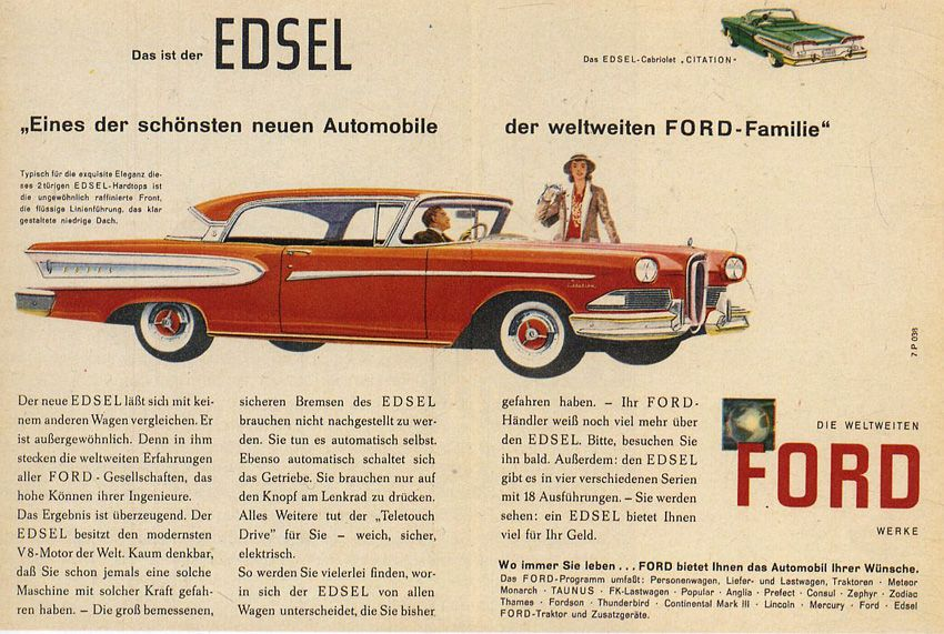 "Werbeanzeige für einen ""Ford Edsel"" in der deutschen Ausgabe von ""Reader's Digest"", 1957. Grafiker: unbekannt, Quelle: [https://www.flickr.com/photos/27556454@N07/3532544337/in/photostream/ Flickr / rauter25], Lizenz: [https://creativecommons.org/licenses/by-sa/2.0/ CC BY-SA 2.0]"