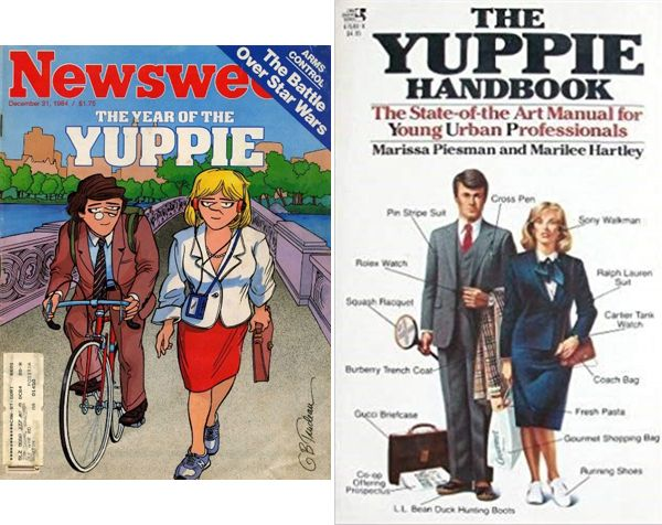 """The Yuppie (young urban professional) attached importance to expensive brand-name clothes, professional success and status-securing leisure activities. """"They live to buy"""" was the slogan for the Yuppies who made it onto the cover of the US news magazine """"Newsweek"""" in 1984 (left): Newsweek 105 (1984), 31 December). Newsweek featured a two-page article on the Yuppies that referred to the Yuppie Handbook published the same year: a satirical guide to the conformist career ambitions of class-conscious youth of middle-class background (right: Marissa Piesman, and Marilee Hartley, The Yuppie Handbook. The State-of-the Art Manual for Young Urban Professionals, Horsham: Pocket Books 1984)."""