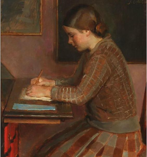 Reading and writing - two basic techniques that allow one to locate oneself in the social world. Painting by the Danish painter Johannes Ottesen (1875-1936): Girl at a Desk, 1929. Source: [https://commons.wikimedia.org/wiki/File:Johannes_-_A_girl_at_a_writing_desk.jpg?uselang=de Wikimedia Commons] [15.12.2020], Licence: public domain