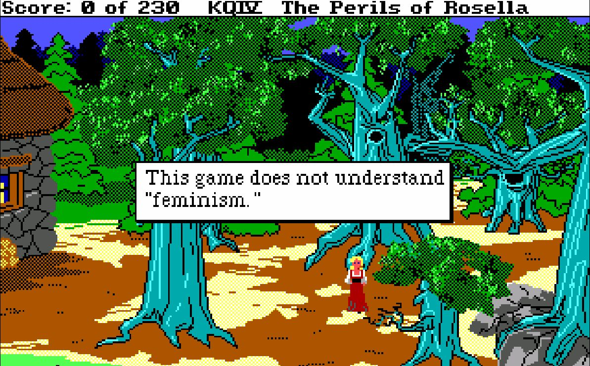 "This game does not understand ""feminism."" Screenshot aus King's Quest IV, Sierra 1988 © (Eugen Pfister, 8. Januar 2020)"