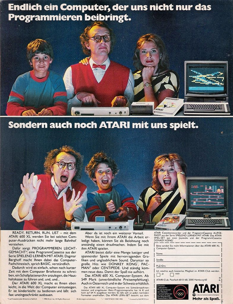 Werbung für den Atari 600 XL, 1983. Urheber/Foto: [https://www.flickr.com/photos/61242269@N05/ Zaphod2012], Quelle: [https://www.flickr.com/photos/61242269@N05/9918371655/ Flickr], Lizenz: [https://creativecommons.org/licenses/by-nc-sa/2.0/ CC BY-NC-SA 2.0]