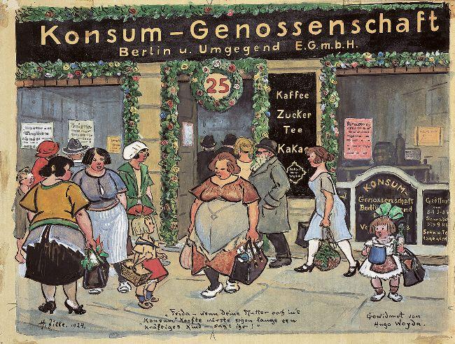 """Heinrich Zille, Konsum-Genossenschaft, 1924. """"Frida – wenn Deine Mutter ooch in's 'Konsum' koofte wärste schon lange een kräftiges Kind – sag's ihr!"""" """"Gewidmet von Hugo Woyda."""" Quelle: [https://commons.wikimedia.org/wiki/File:Heinrich_Zille_Konsum-Genossenschaft.jpg Wikimedia Commons] [31.08.2020], gemeinfrei"""
