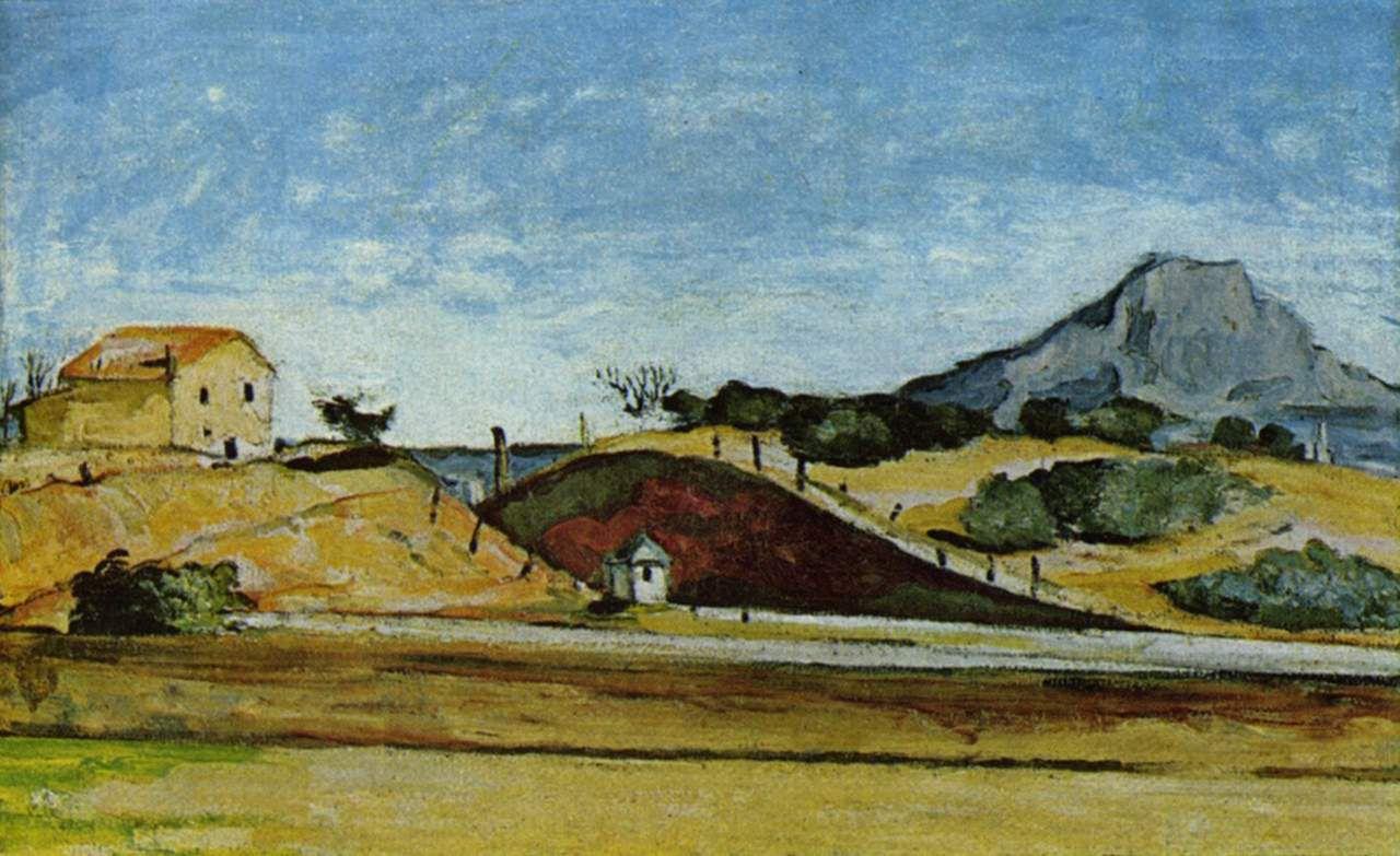 Paul Cézanne: La Tranchée du chemin de fer (Der Bahndurchstich), Gemälde um 1870. Quelle: Neue Pinakothek / [https://commons.wikimedia.org/wiki/File:La_Tranch%C3%A9e_du_chemin_de_fer,_par_Paul_C%C3%A9zanne.jpg Wikimedia Commons], public domain