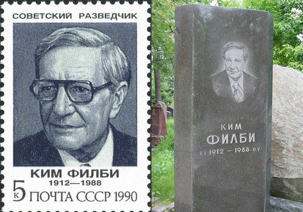 """Eine sowjetische Briefmarke aus dem Jahre 1990 zu Ehren des britischen Doppelagenten Kim Philby. Als Abkömmling der britischen Oberschicht und Cambridge-Absolvent hatte sich Philby in den 1930er-Jahren für den Kommunismus begeistert und war für den sowjetischen Geheimdienst geworben worden. Unter anderem tätig als Verbindungsoffizier des britischen Auslandsgeheimdienstes in den USA in den späten 1940er-Jahren, lieferte er streng geheime Informationen nach Moskau, die der Sowjetunion immer wieder Vorteile im Krieg der Geheimdienste mit den Westalliierten verschafften. 1963 floh Kim Philby nach Moskau, wo er eine Stellung im KGB erhielt. Doch erst nach seinem Tod 1988 wurden ihm jene Ehrungen zuteil, nach denen er sich zu Lebzeiten immer gesehnt hatte, u.a. wurde ihm posthum der Leninorden verliehen, die zweithöchste Auszeichnung der Sowjetunion. Links: Briefmarke der UdSSR aus der Serie  """"Sowjetische Spione"""": Kim Philby 1990, Abbildung von B. Iljuchin, CFA #6266. Quelle: [https://commons.wikimedia.org/wiki/File:1990_CPA_6266.jpg Wikimedia Commons], public domain; rechts: Grab von Kim Philby auf einem Friedhof in Moskau, 10. Juli 2010. Foto: A. Savin, Quelle: [https://de.wikipedia.org/wiki/Datei:Friedhof_Kunzewo_Grab_Philby_Gesamtansicht.jpg#/media/Datei:Friedhof_Kunzewo_Grab_Philby_Gesamtansicht.jpg Wikimedia Commons], Lizenz: [https://creativecommons.org/licenses/by-sa/3.0/ CC BY-SA 3.0]"""