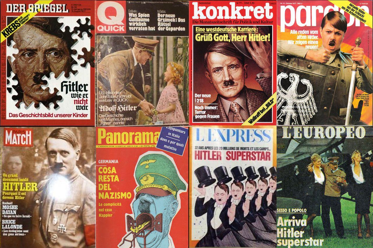 »Hitler Superstar«: Titelbilder deutscher und internationaler Zeitschriften aus dem September und Oktober 1977 (Foto: Tobias Becker)