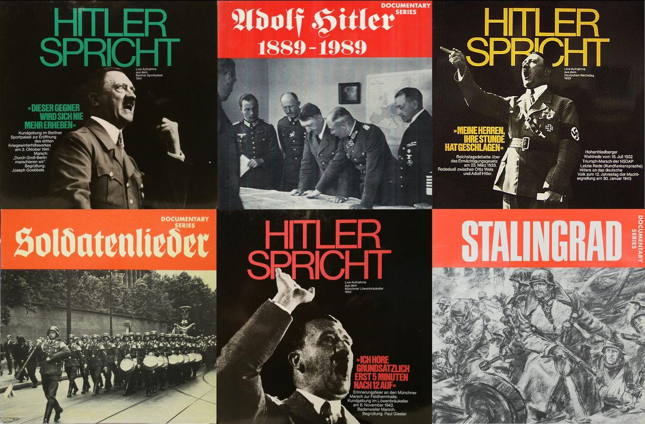 Auch Schallplatten mit Hitlers Reden wurden in den 1970er-Jahren neu aufgelegt; hier Beispiele vom John Jahr Verlag und dem »Documentary Series Establishment«. (Foto: Tobias Becker)
