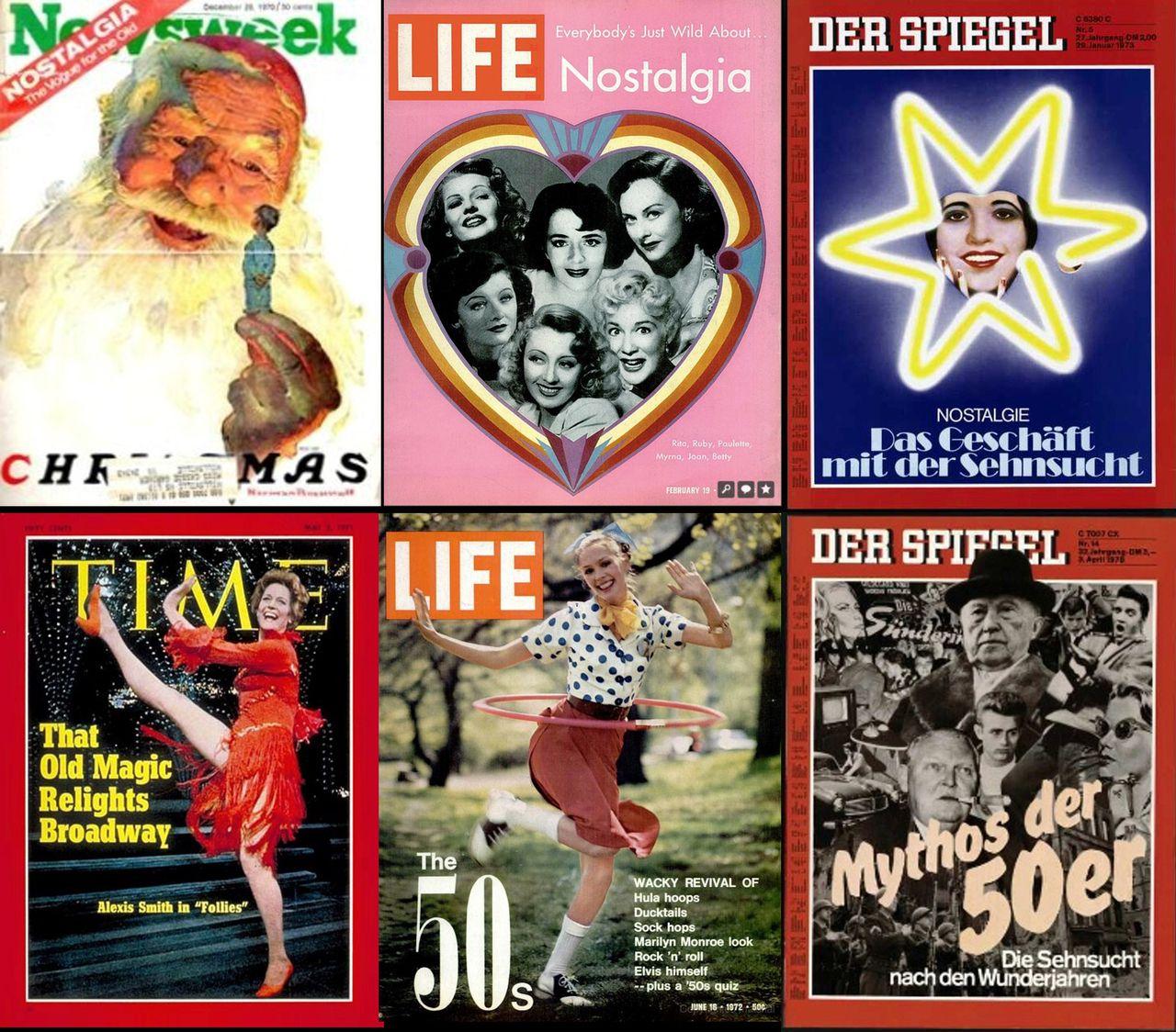 Titelgeschichten über Nostalgie, unter anderem im »Spiegel« vom 29. Januar 1973 (rechts oben): »Nostalgie. Das Geschäft mit der Sehnsucht«
