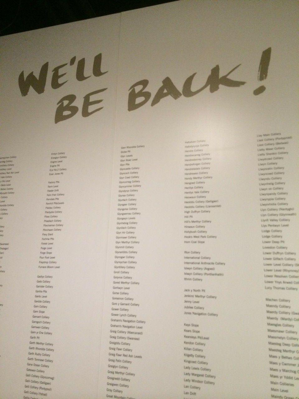 »We'll Be Back!« Tafel im Museum Big Pit, Blaenavon, Südwales (Foto: Stefan Berger)